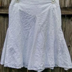 Ralph Lauren White Eyelet A-line Skirt Size 2